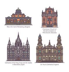 Set christian european church in thin line vector