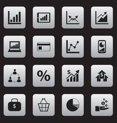 set of 16 editable analytics icons includes vector image