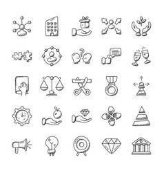 Set of project management doodle icons vector