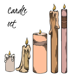 set relax candles colorful sketch vector image