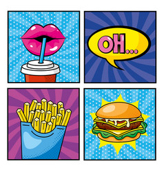 set woman mouth drinking soda and fastfood with vector image