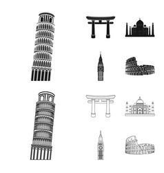 sights of different countries blackoutline icons vector image