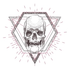 skull with geometric abstract elements hand drawn vector image