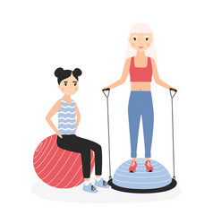 smiling mother and daughter performing aerobics vector image