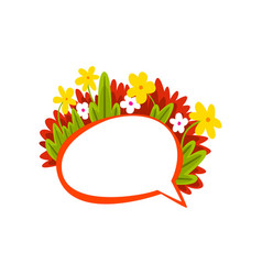Speech bubble with flowers empty thought bubble vector