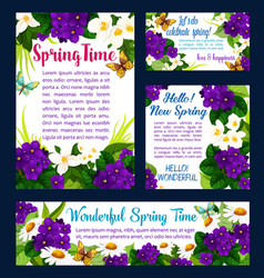 spring flower and butterfly greeting card design vector image