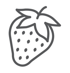 strawberry line icon fruit and vitamin vector image
