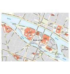 street map ile de la cite in paris france vector image