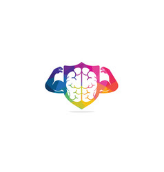 Strong brain logo design vector