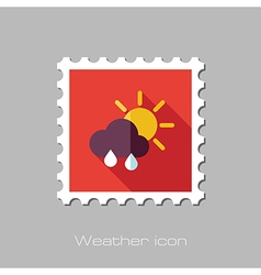 Sun rain cloud flat stamp meteorology weather vector