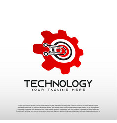 Technology logo with gear concept element vector