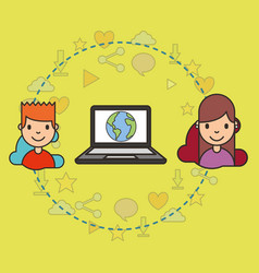 teeenagers with laptop with world on screen vector image