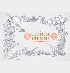 template different types chinese cuisine vector image