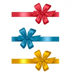 three colored gift bows vector image vector image