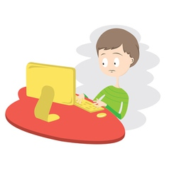 Unhappy Boy Using Computer vector image