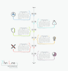 Vertical timeline with time indication pictograms vector