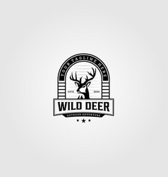 Vintage wild deer logo design vector
