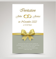 Wedding announcement with gold ribbon and rings vector