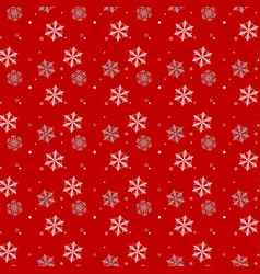 white and gray snowflakes on red background vector image