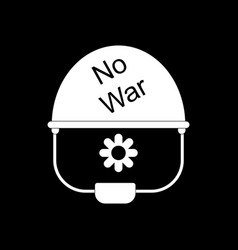 White icon on black background no war military vector