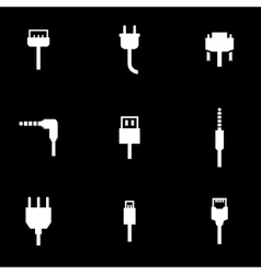 white plug icon set vector image