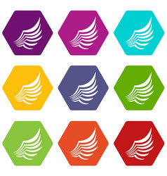 wing icon set color hexahedron vector image
