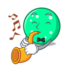 With trumpet circle mascot cartoon style vector