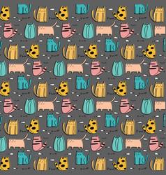 cute cat hand drawn pattern vector image