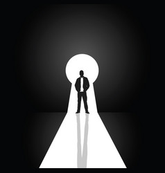 Keyhole with man silhouette vector