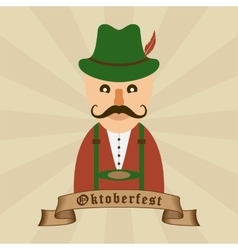 Oktoberfest celebration design with Bavarian man vector image vector image