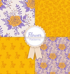 Vintage Floral Seamless Patterns Collection vector image