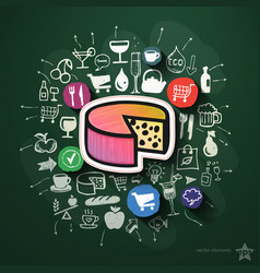 Food collage with icons on blackboard vector image vector image