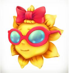 fun summer sun little girl 3d icon vector image vector image