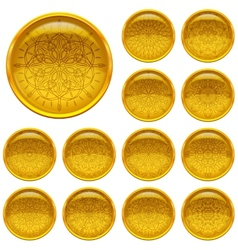 Set golden buttons with patterns vector image vector image