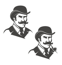 set of gentleman heads with smoking pipe isolated vector image vector image