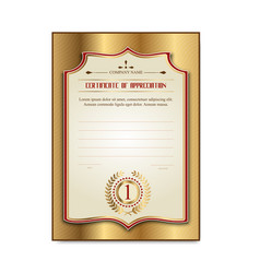 template gold certificates with the medal laurel vector image vector image