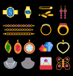 traditional golden jewellery bangles diamond vector image