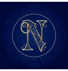 Vintage floral alphabet letter N vector image vector image