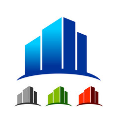 abstract commercial skyline building logo template vector image vector image