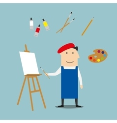 Artist or craftsman with art elements vector