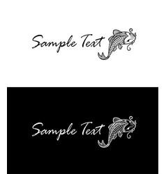 carp koi silhouette business card concept vector image
