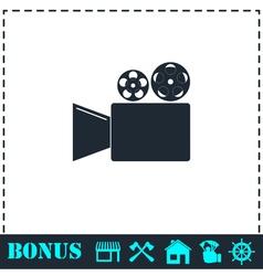 Cinema camera icon flat vector image