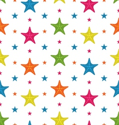 Colorful Starfishes Summer Seamless Background vector image