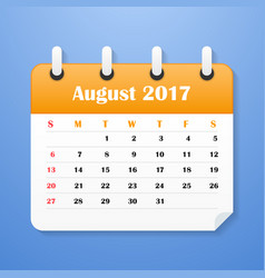 european calendar for august 2017 vector image