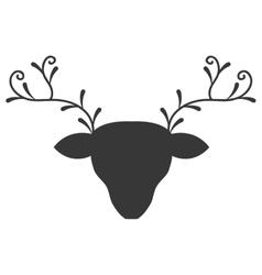 head reindeer silhouette icon vector image
