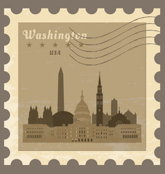 post stamp with name of washington vector image