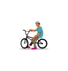 Young man rides sitting on a BMX Bike sign vector image