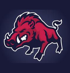 angry of wild hog mascot vector image vector image
