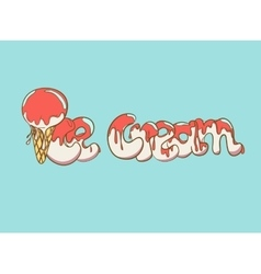 Cartoon ice cream text vector image