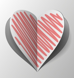 Cutout And Folded Paper Heart With Red Hatch vector image vector image